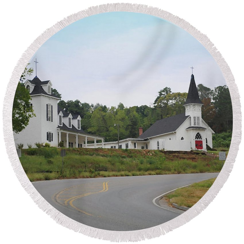 Church Round Beach Towel featuring the photograph Country Church In Texture by Jost Houk