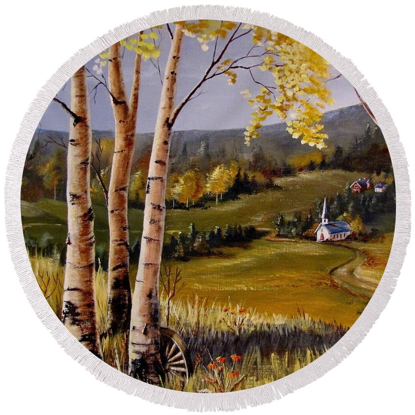 Country Church Round Beach Towel featuring the painting Country Church by Marilyn Smith