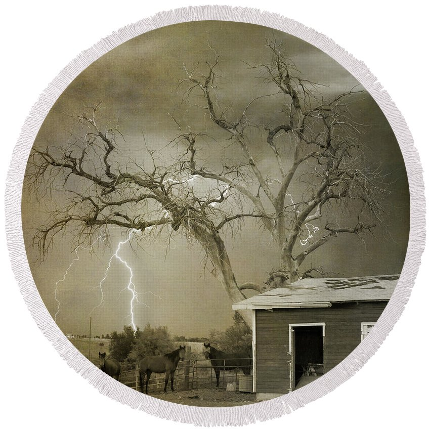 Country Round Beach Towel featuring the photograph Country Horses Lightning Storm Ne Boulder Co 66v Bw Art by James BO Insogna