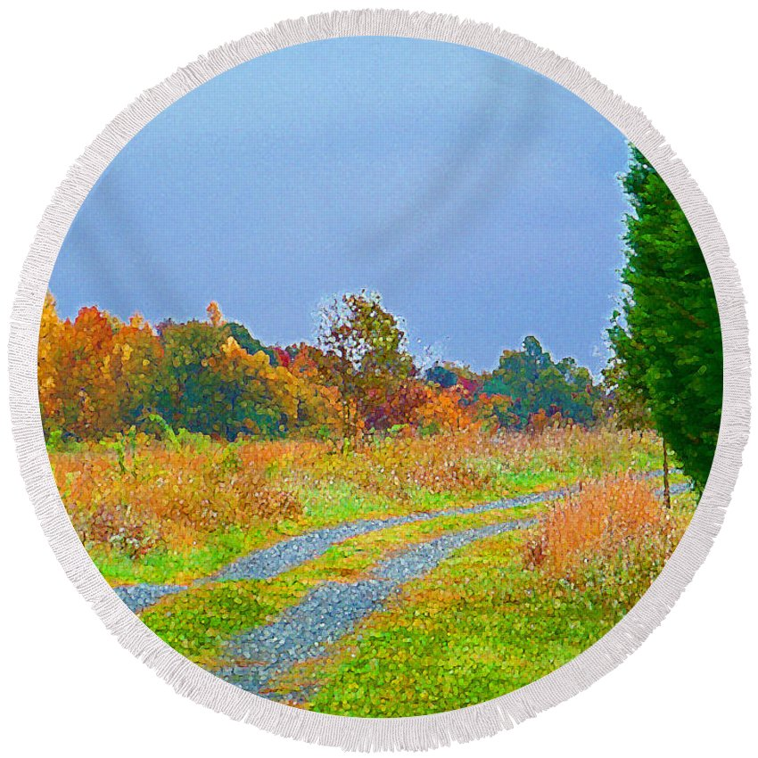 Country Round Beach Towel featuring the photograph Country Road by Scott Hervieux