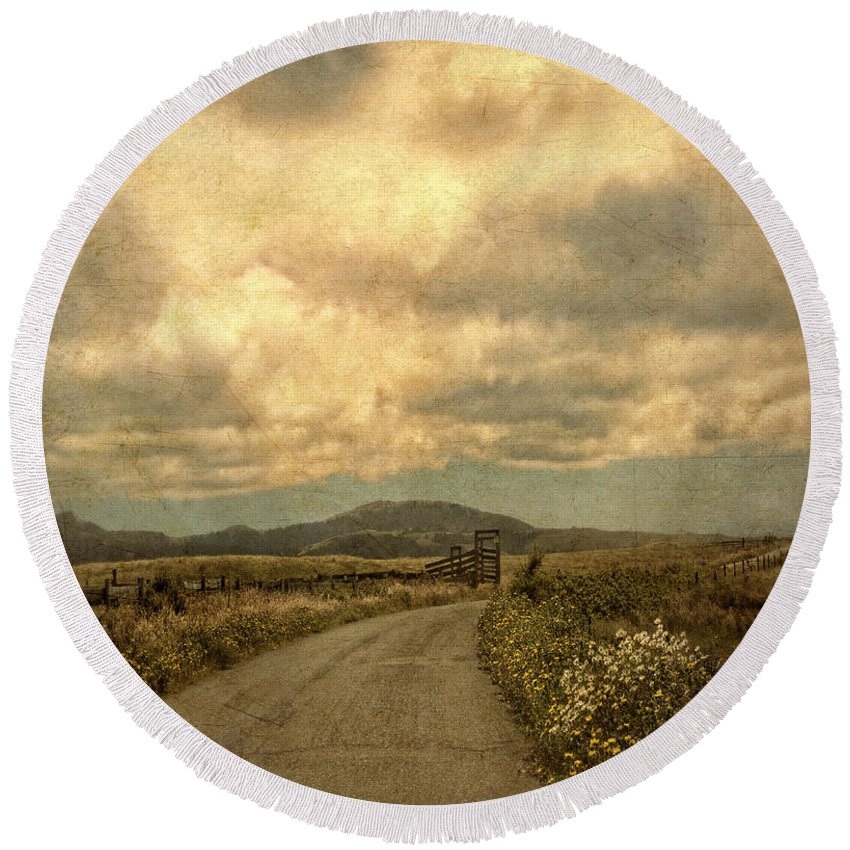Road Round Beach Towel featuring the photograph Country Road With Wildflowers by Jill Battaglia