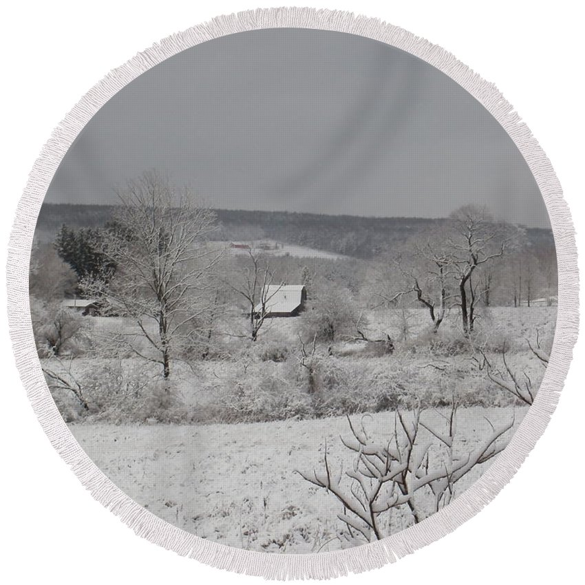 New York Round Beach Towel featuring the photograph Courrier And Ives Winter by Christian Mattison