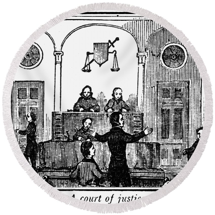 1842 Round Beach Towel featuring the photograph Courtroom, 1842 by Granger