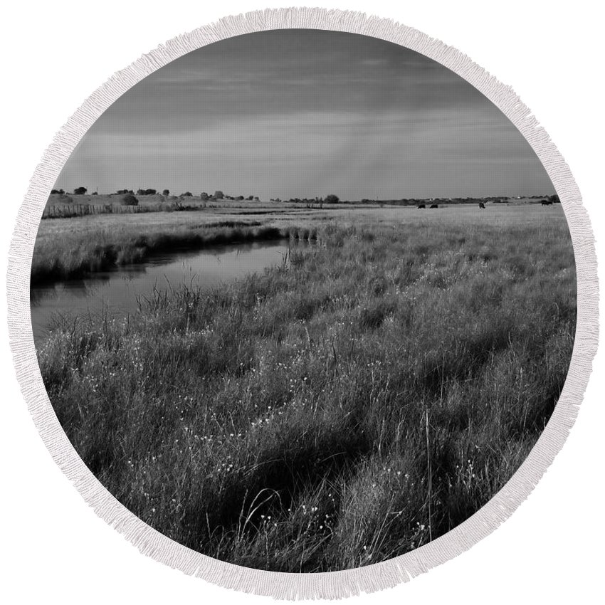 Black And White Round Beach Towel featuring the photograph Cow Field 2 by Sean Wray