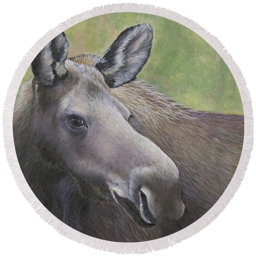 Moose Round Beach Towel featuring the Cow Moose by Dee Carpenter