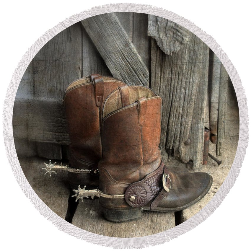 Cowboy Boots Round Beach Towel featuring the photograph Cowboy Boots With Spurs by Jill Battaglia