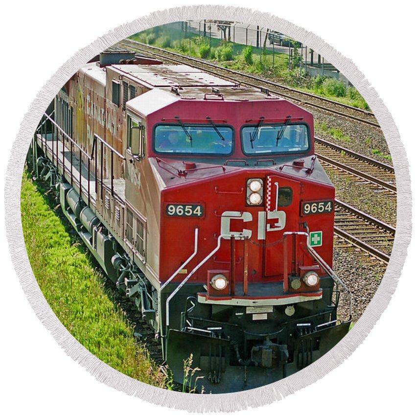 Trains Round Beach Towel featuring the photograph Cp Rail Engine by Randy Harris