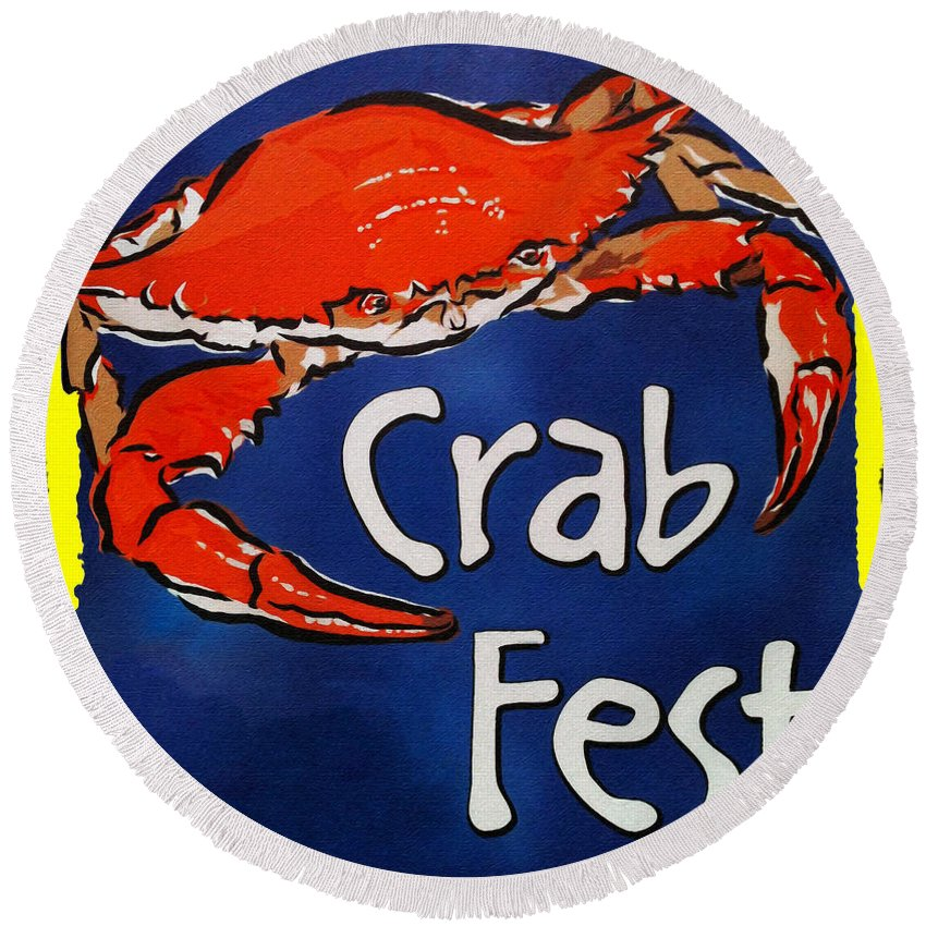 Crab Fest Round Beach Towel featuring the digital art Crab Fest by Bill Cannon