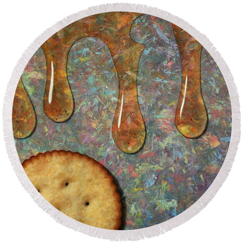Cracker Round Beach Towel featuring the painting Cracker Honey by James W Johnson