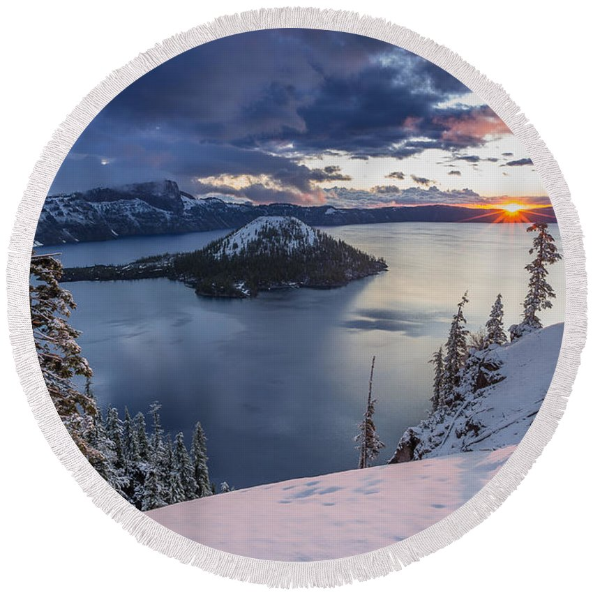 Crater Lake Round Beach Towel featuring the photograph Crater Lake Snow Sunrise by Greg Nyquist