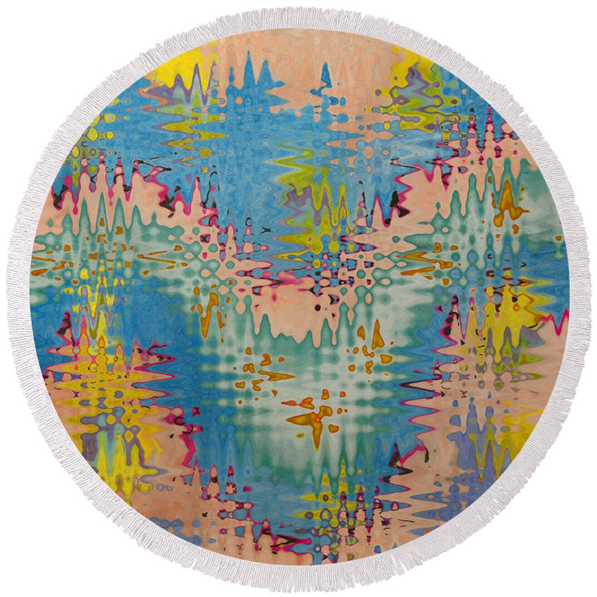 Abstract Round Beach Towel featuring the digital art Crazy Waves by Debbie Portwood