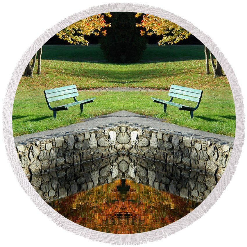 Round Beach Towel featuring the photograph Creation 9 by Mike Nellums