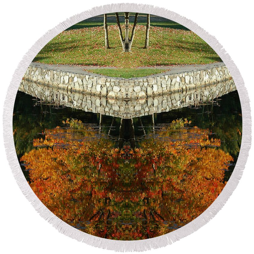 Round Beach Towel featuring the photograph Creation16 by Mike Nellums