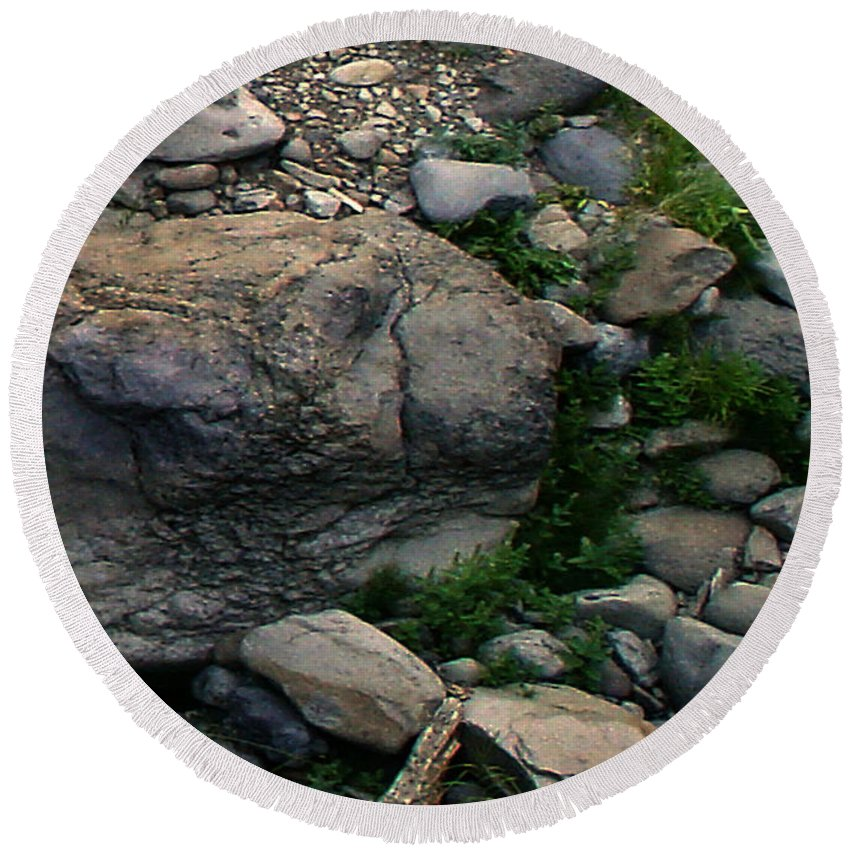 Creek Round Beach Towel featuring the digital art Creek Flow Panel 5 by Peter Piatt