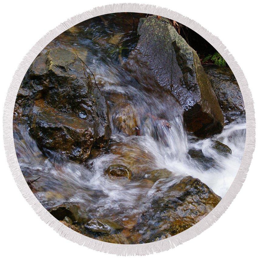 Tamalpais Round Beach Towel featuring the photograph Creek Scene On Mt Tamalpais by Ben Upham III