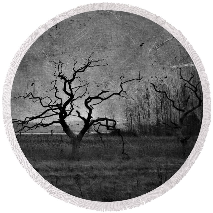 Window Round Beach Towel featuring the photograph Creepy Way Home by The Artist Project
