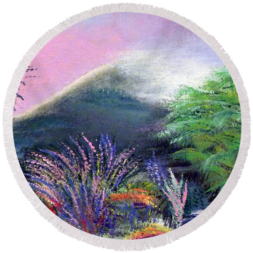 Ireland Round Beach Towel featuring the painting Croagh Patrick by Alys Caviness-Gober