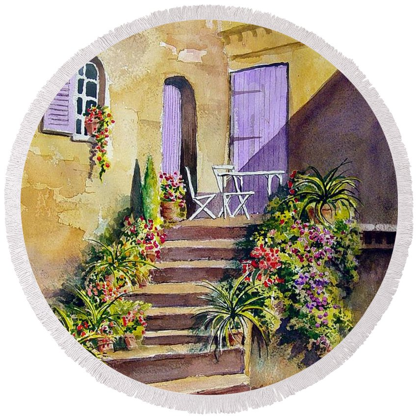 Flowers Round Beach Towel featuring the painting Crooked Steps And Purple Doors by Sam Sidders