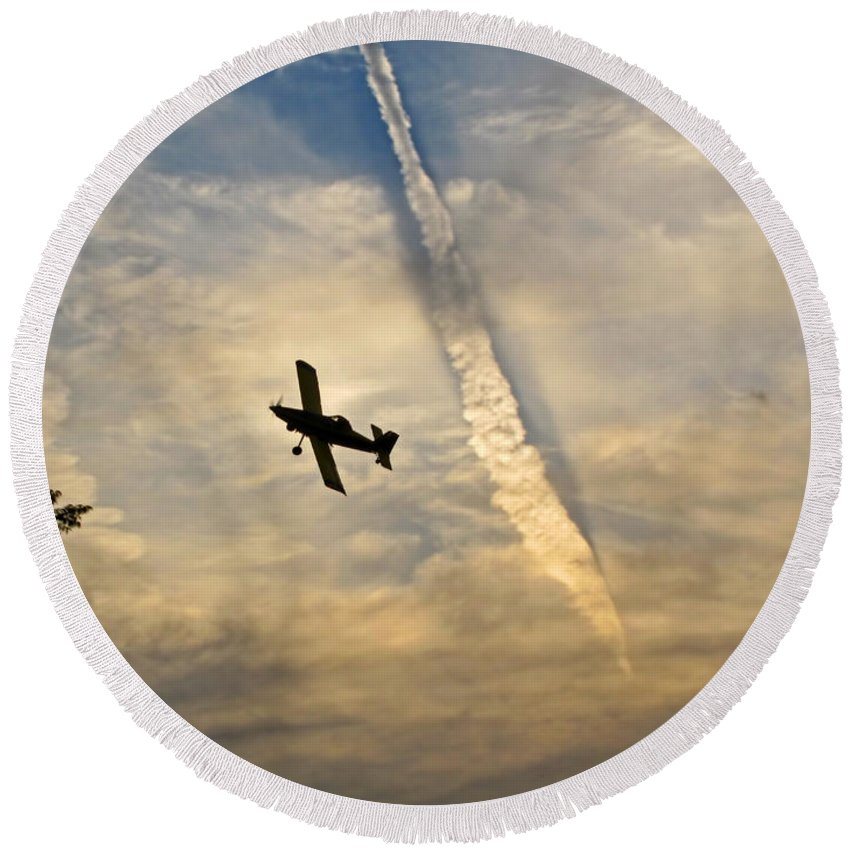 Round Beach Towel featuring the photograph Crop Duster Under The Jet Trail by Debbie Portwood