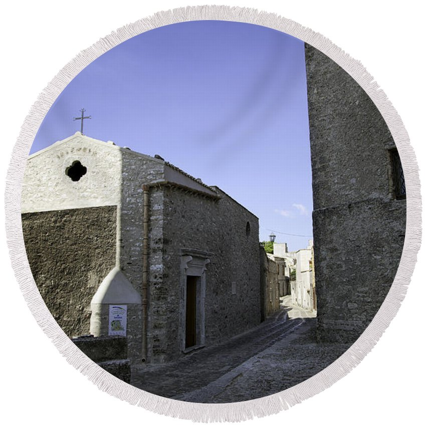 Church Round Beach Towel featuring the photograph Cross Road 1 by Madeline Ellis