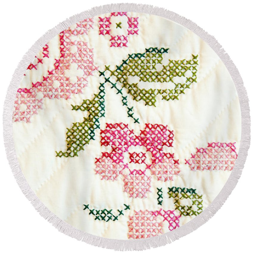 Cross-stitch Round Beach Towel featuring the photograph Cross Stitch Flower 1 by Marilyn Hunt