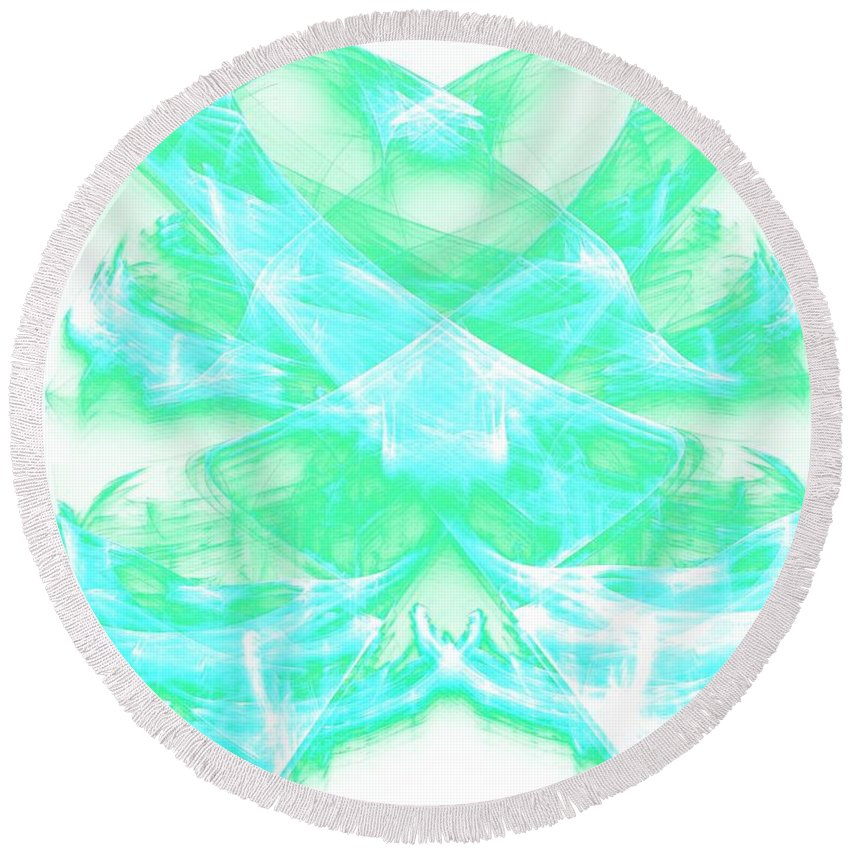 Apophysis Round Beach Towel featuring the digital art Crossing Waves by Kim Sy Ok