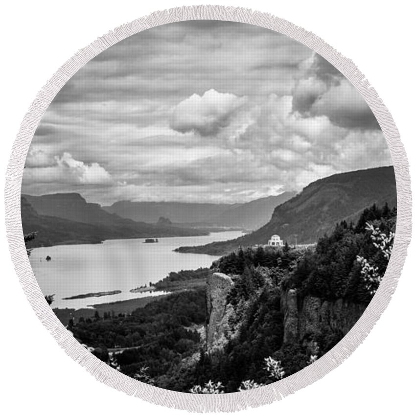 Crown Point Round Beach Towel featuring the photograph Crown Point Two by Mike Penney
