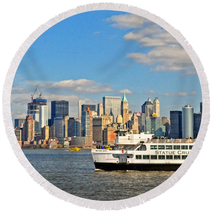 New York City Round Beach Towel featuring the photograph Cruising Past The Freedom Tower by Dave Mills