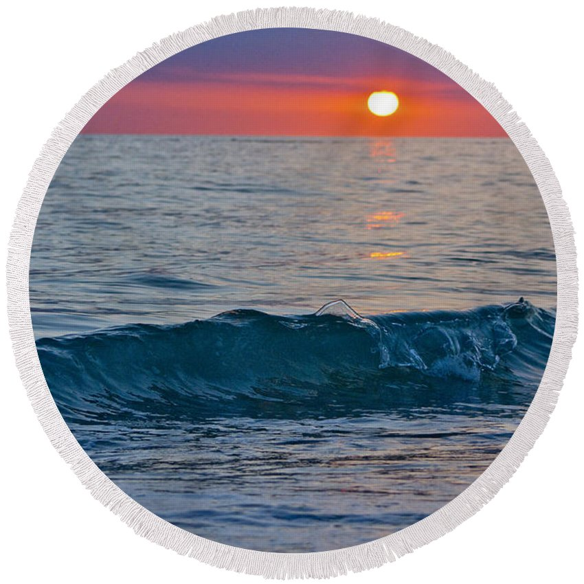 Sunset Round Beach Towel featuring the photograph Crystal Blue Waters At Sunset In Treasure Island Florida 3 by Robin Lewis