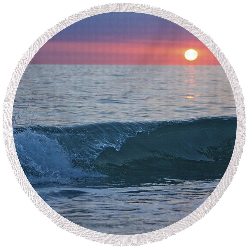 Sunset Round Beach Towel featuring the photograph Crystal Blue Waters At Sunset In Treasure Island Florida 4 by Robin Lewis