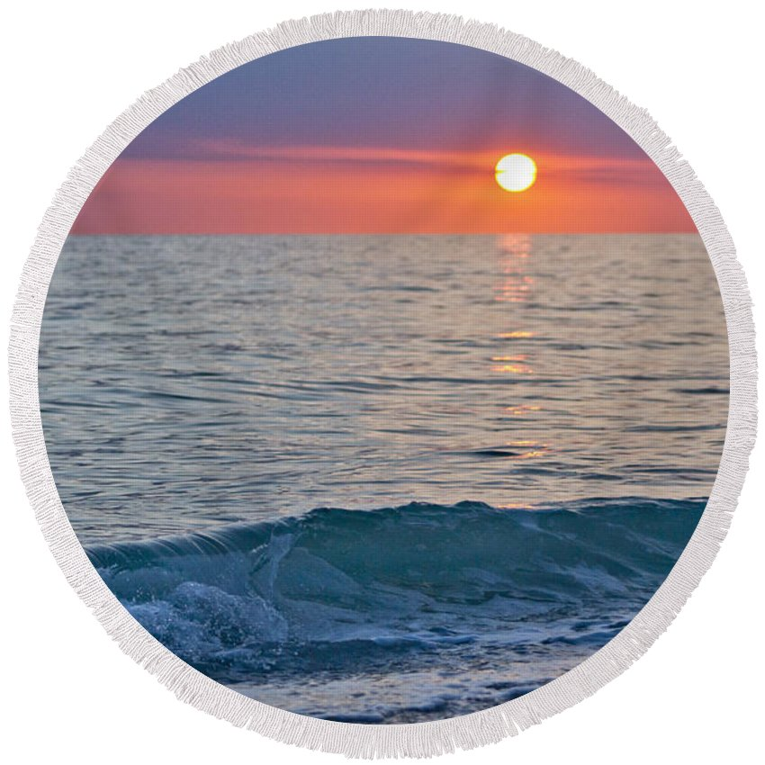 Sunset Round Beach Towel featuring the photograph Crystal Blue Waters At Sunset In Treasure Island Florida by Robin Lewis