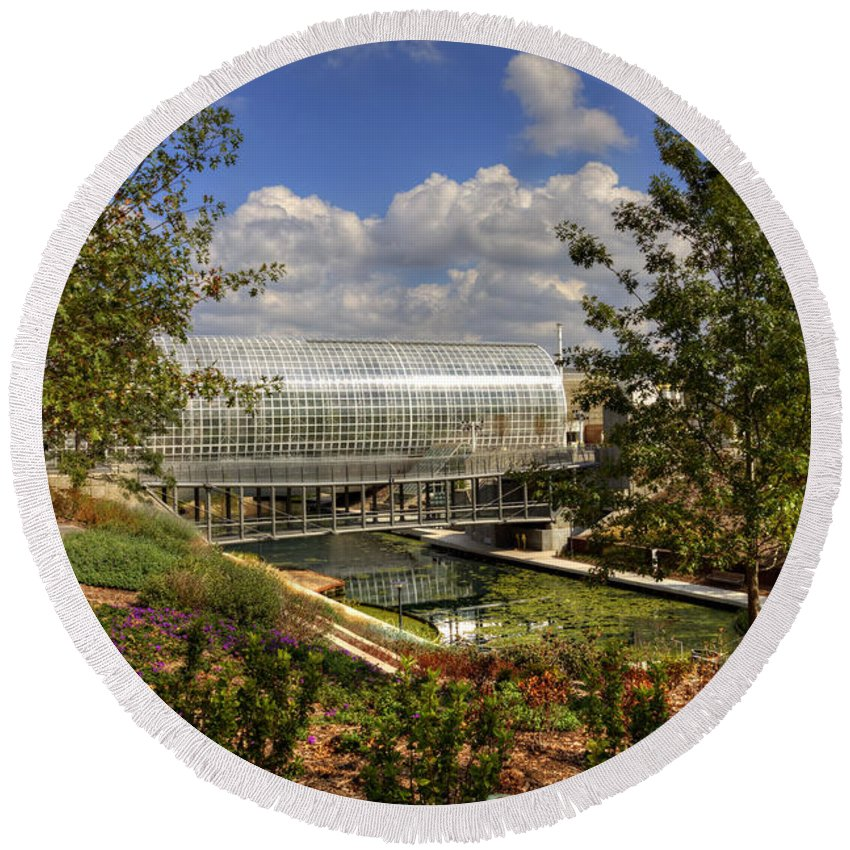 Architecture Round Beach Towel featuring the photograph Crystal Bridge by Ricky Barnard