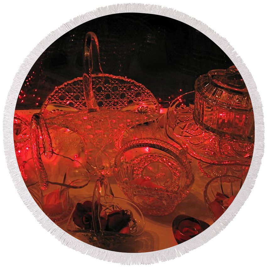 Crystal Round Beach Towel featuring the photograph Crystal In Red by Nancy Patterson