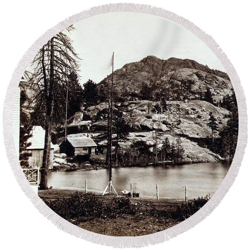 California Round Beach Towel featuring the photograph Crystal Lake And Black Butte - California - C 1865 by International Images