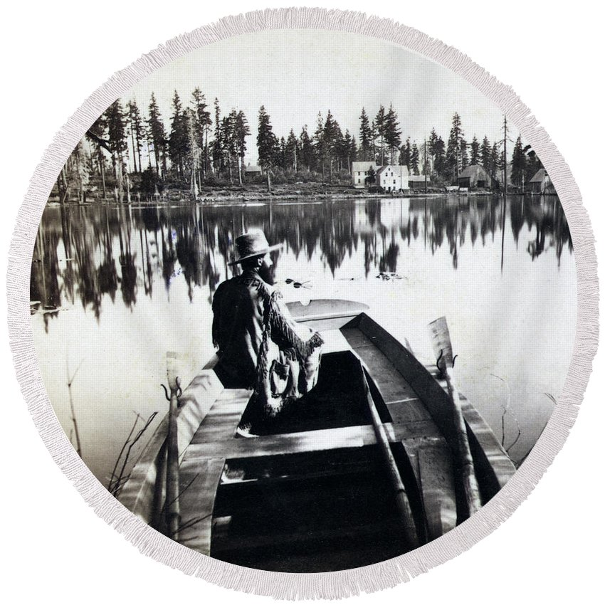 California Round Beach Towel featuring the photograph Crystal Lake California - C 1865 by International Images