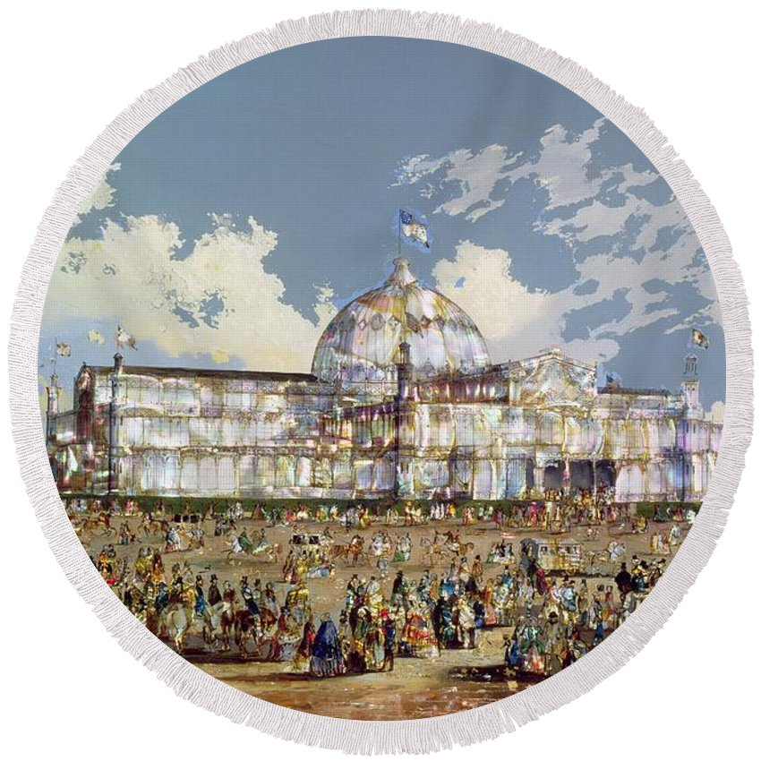 Crystal Palace Round Beach Towel featuring the painting Crystal Palace New York by WS Parkes