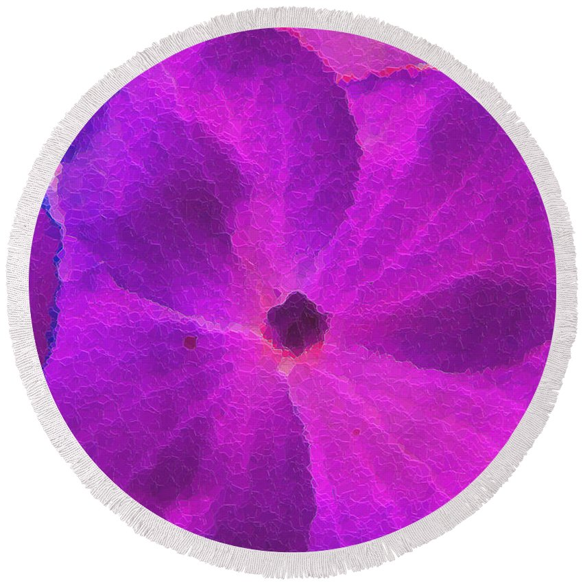 Nature Round Beach Towel featuring the photograph Crystelized Hydrangea Bloom Art by Debbie Portwood