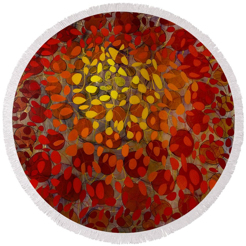 Abstract Round Beach Towel featuring the painting Culmination Four by Lynne Taetzsch