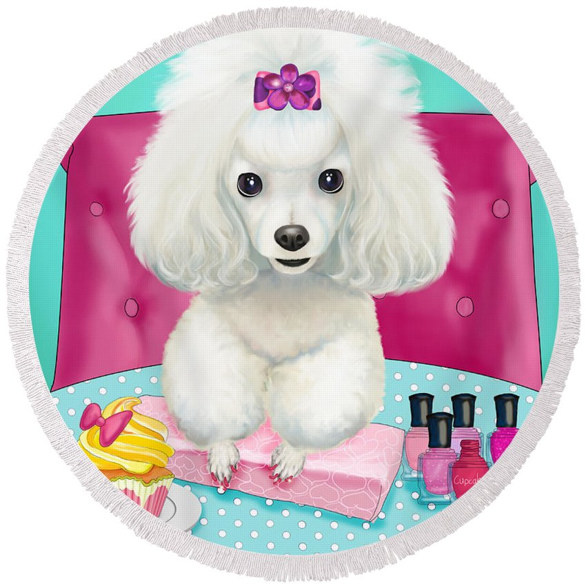 Poodle Round Beach Towel featuring the mixed media Cupcakes Day At The Nail Spa by Catia Lee