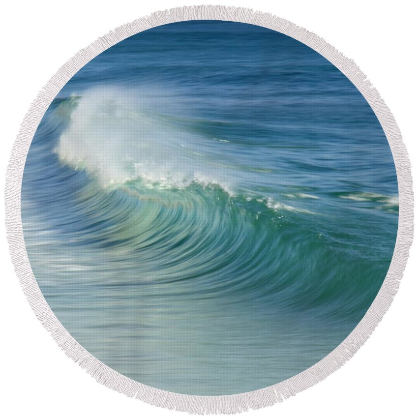 Curling Wave Round Beach Towel featuring the photograph Curling Wave by Roupen Baker