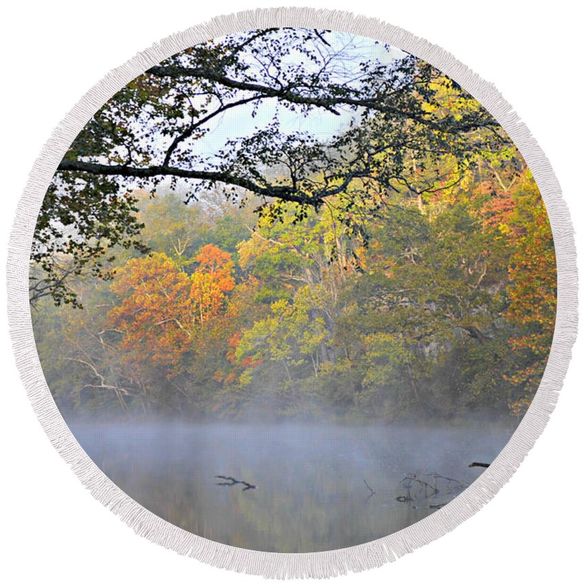 Fall Colors Round Beach Towel featuring the photograph Current River Fall 44r by Marty Koch
