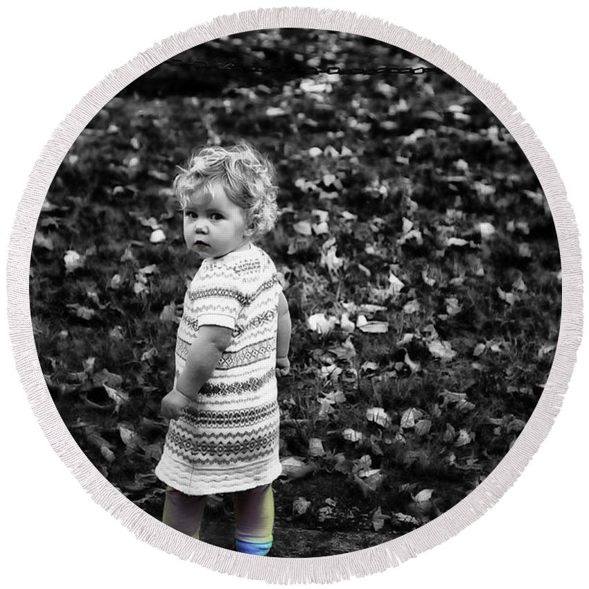 Girl Round Beach Towel featuring the photograph Cutie Pie by Madeline Ellis