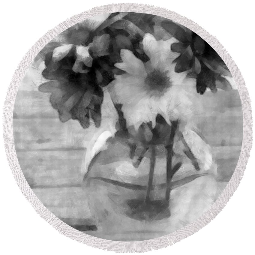 Daisy Round Beach Towel featuring the photograph Daisy Crazy Bw Revisited by Angelina Tamez