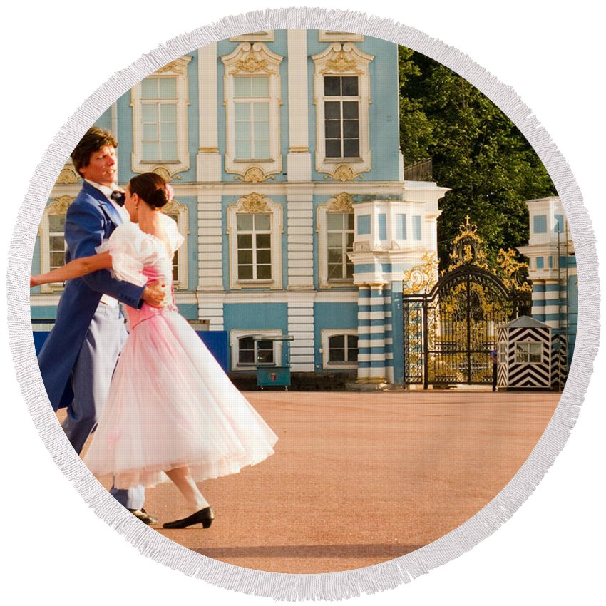 Built Structure Round Beach Towel featuring the photograph Dance At Saint Catherine Palace by David Smith