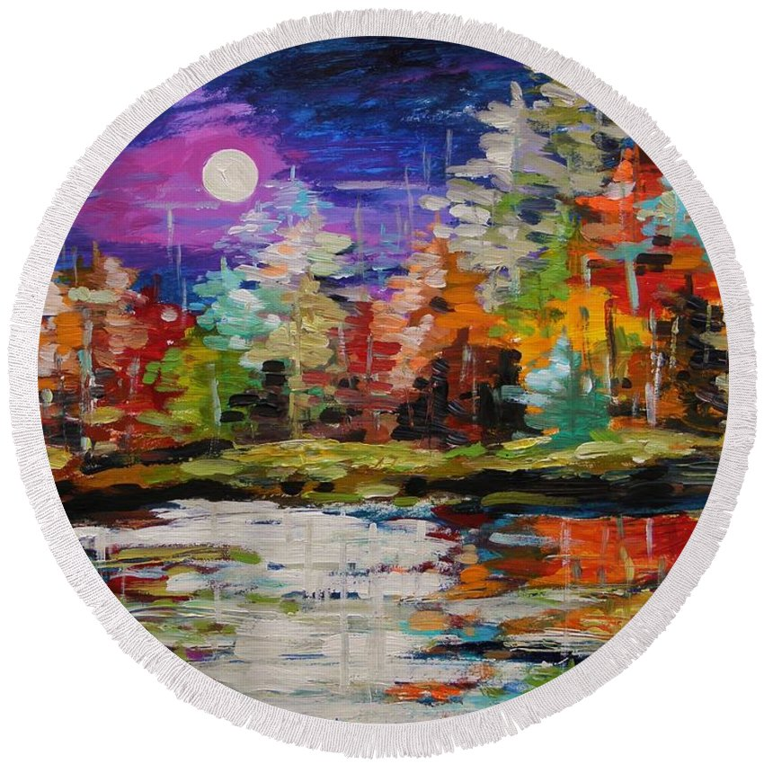 Moon Round Beach Towel featuring the painting Dance On The Pond by John Williams
