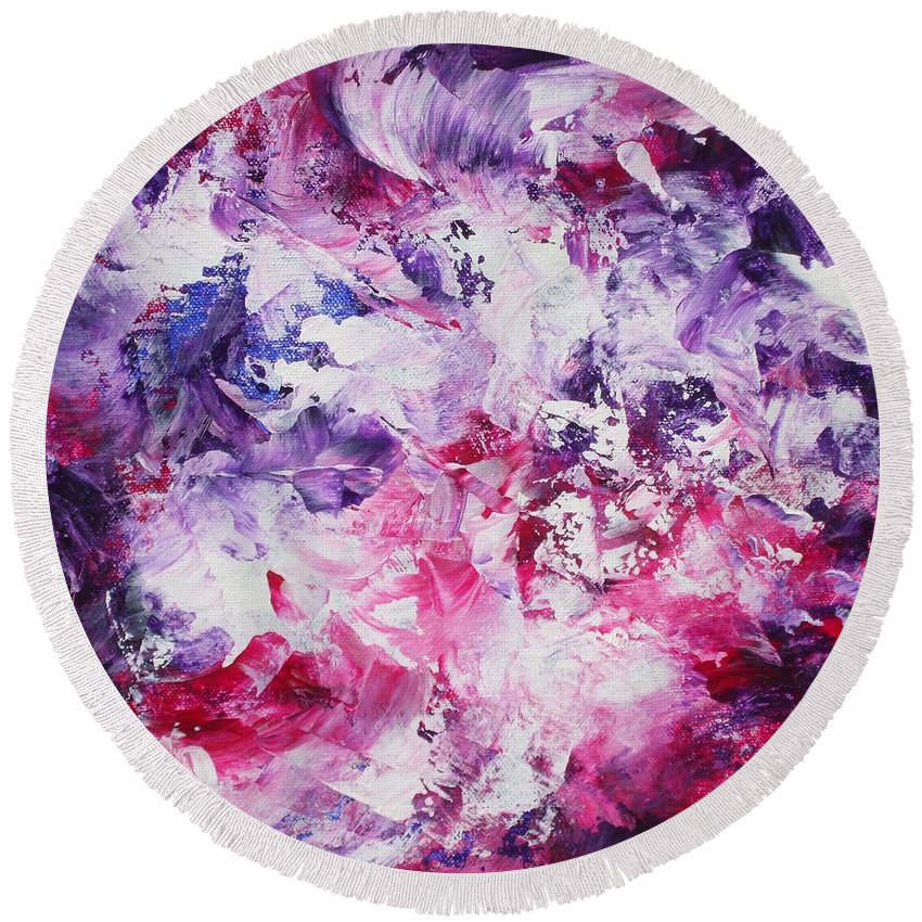 Abstract Round Beach Towel featuring the painting Dancers by Claire Gagnon