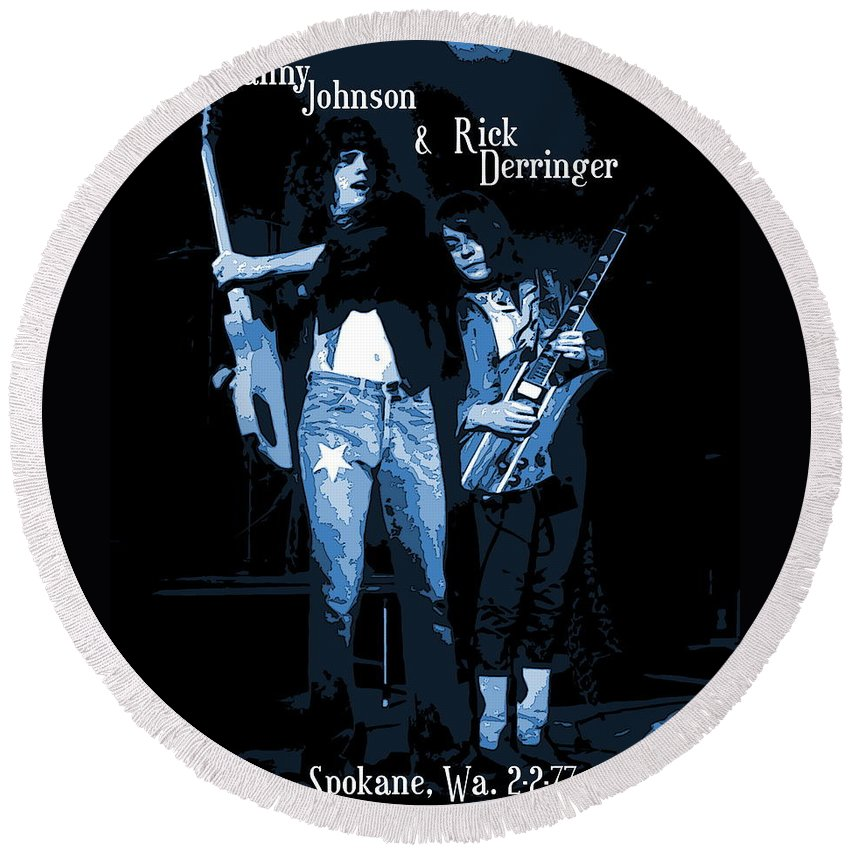 Derringer Round Beach Towel featuring the photograph D J And R D Playing The Blues 1977 by Ben Upham