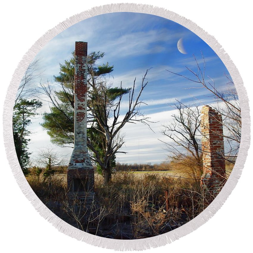 2d Round Beach Towel featuring the photograph Dark Hearth by Brian Wallace