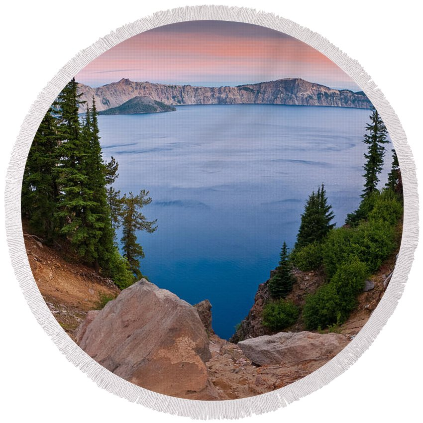 Crater Lake Round Beach Towel featuring the photograph Dawn At Sun Notch by Greg Nyquist