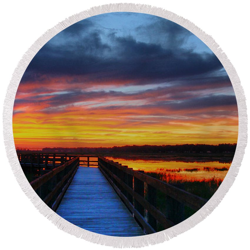 Fishing Pier Round Beach Towel featuring the photograph Dawn Skies At The Fishing Pier by Barbara Bowen